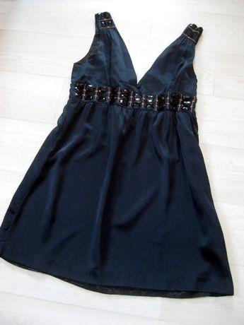 Платье короткое Whistles London тёмно синее с камнями шёлковое Индия