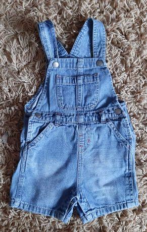 Ogrodniczki jeans, krótkie spodenki r.86/92