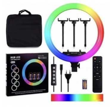 Кольцевая LED лампа MJ33(18,26,36,38) RGB 35, 45см + штатив+ пульт
