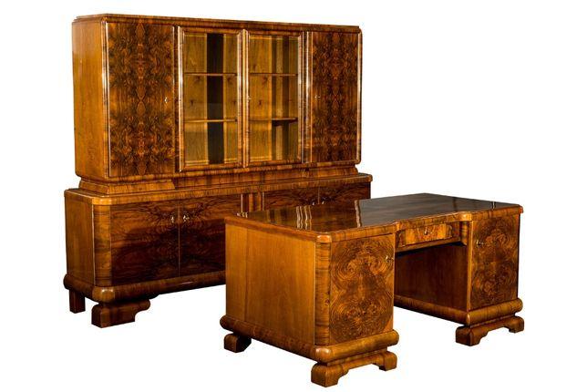 Biurko i biblioteka / art - deco / po renowacji / komplet gabinetowy
