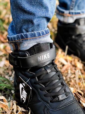 Nike Air Force 1 Black White Winter Кросівки зимові з хутром Найк