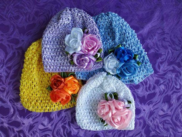 шапочки для девочек новорожденных