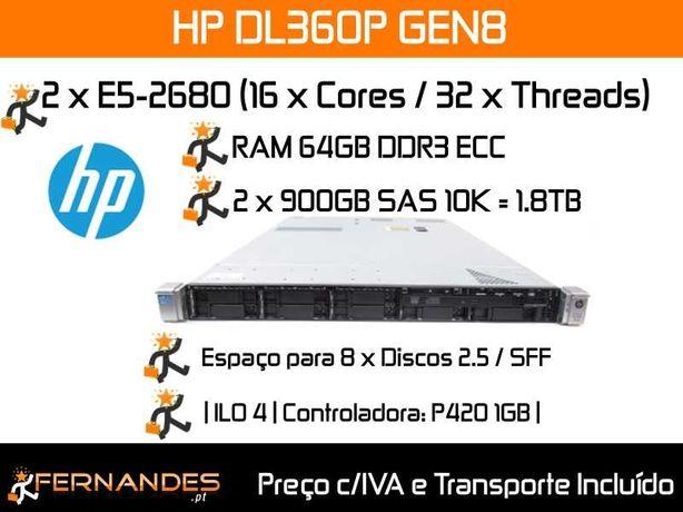 HP DL360P G8 | 2 x E5-2680 | 64GB RAM | 1.8TB Espaço |