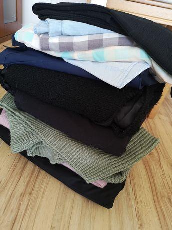 Zestaw ubrań paka ubrań płaszcz koszule spódnica żakiet swetr XS 34