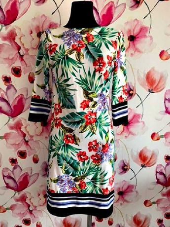primark sukienka modny wzór kwiaty hawajska jak nowa hit roz.38