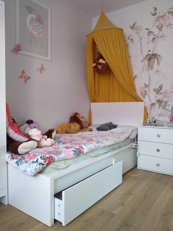 Łóżko MALM, materac, listewki, szuflady