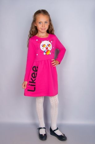 Likee !!Теплое платье для девочки 116-122 малина и розовое
