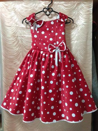 Красное Платье ретро белый горох на красном карсет шнуровка 134-140