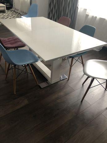 Stół na wysoki połysk biały rozkładany nowoczesny