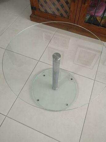 Mesa de centro em vidro e inox
