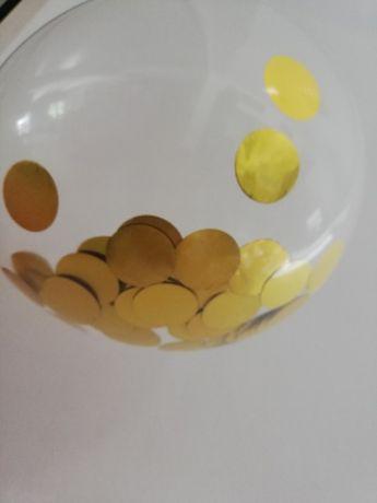 Balon z cekinami metaliczny złoty