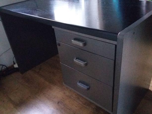 Biurko klasyczne, czarno-grafitowe z 3 szufladami