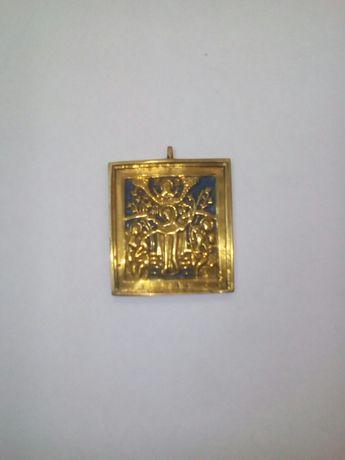 Икона ладанка старинная латунь эмаль