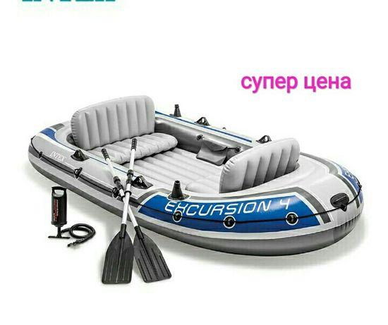 Надувная лодка 4-местная Intex EXPLORER 4  с алюминиевыми вёслами