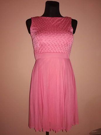 Nowa sukienka plisowana rozowa/malinowa