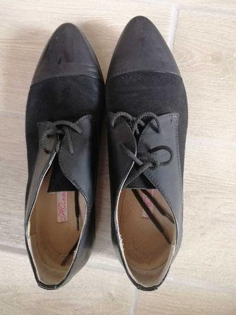 Кожані з замшею  туфлі