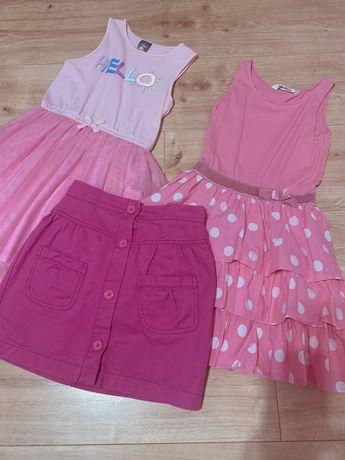 Sukienki różowe, z tiulem spódniczka r.122 gratisy