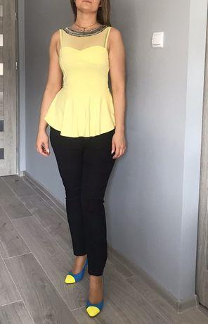 Źółta bluzeczka koszulka top cytrynowa srebrne ozdoby roz S m