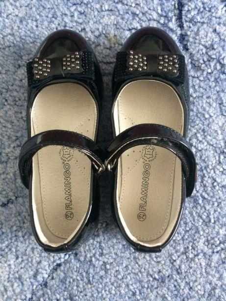Фламинго, черные туфли для девочки