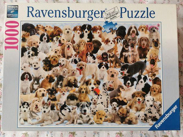 Puzzle Ravensburger psy 1000 elementów, kompletne, Pieski