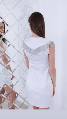 Платье вечернее бандажное стразовая бахрома камни стразы