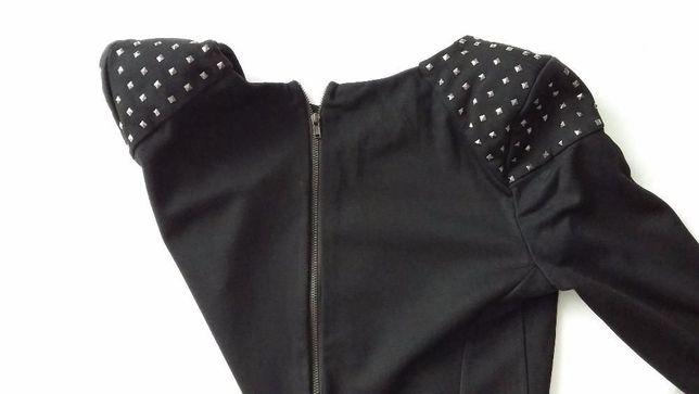 Mała czarna elegancka sukienka mini Sweewe S M dżety