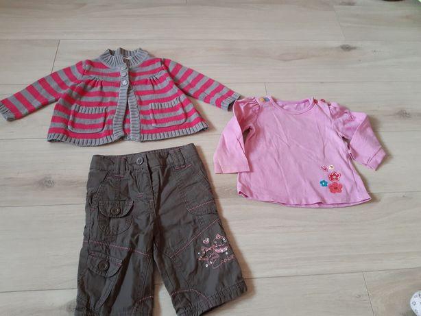 Zestaw 62-68, spodenki, sweterek, bluzeczka