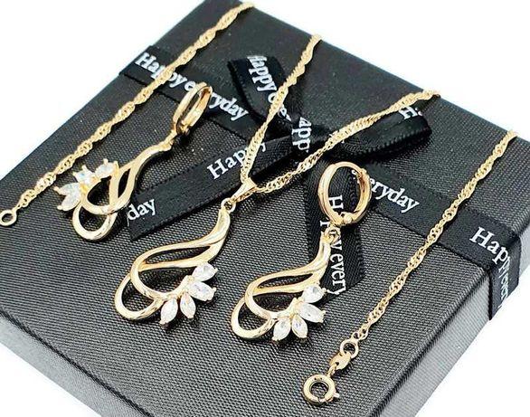 Piękny komplet łańcuszek z zawieszką i kolczykami stal złote