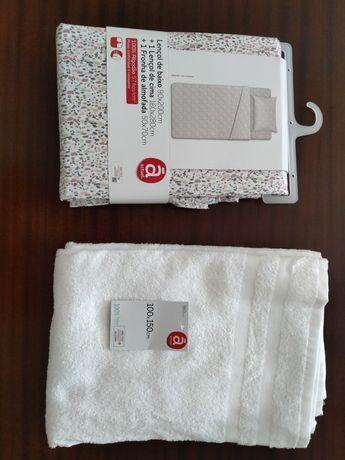 Jogo de lençóis e toalha de banho - NOVOS!