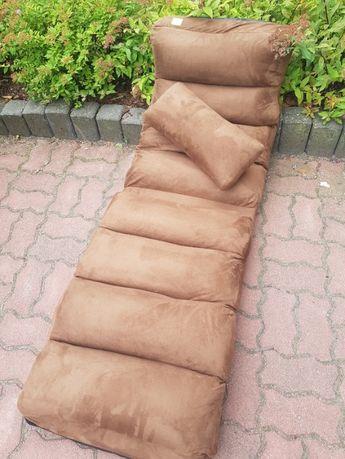 składany regulowany materac do spania, fotel - brązowy. okazja!