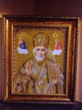 Вишивка бисером, икона вишитая бисером,св. Миколай, ікона з бісеру