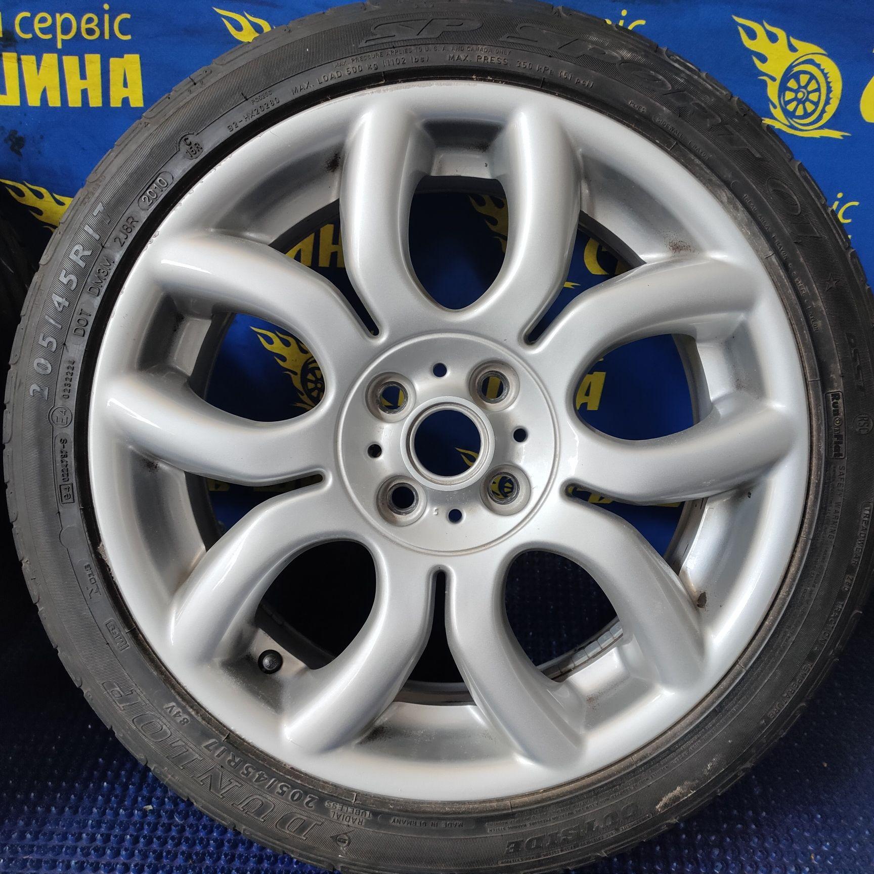 Диски 4x100 R17 Mini Cooper R50 R59 з шинами Dunlop