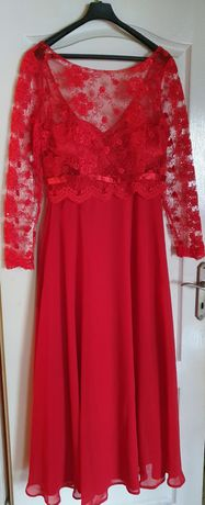 Piękna czerwona sukienka koronka tiul L
