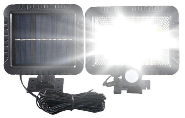 LAMPA SOLARNA 100 LED Z CZUJNIKIEM ruchu i zmierzchu z dodatkowym pane