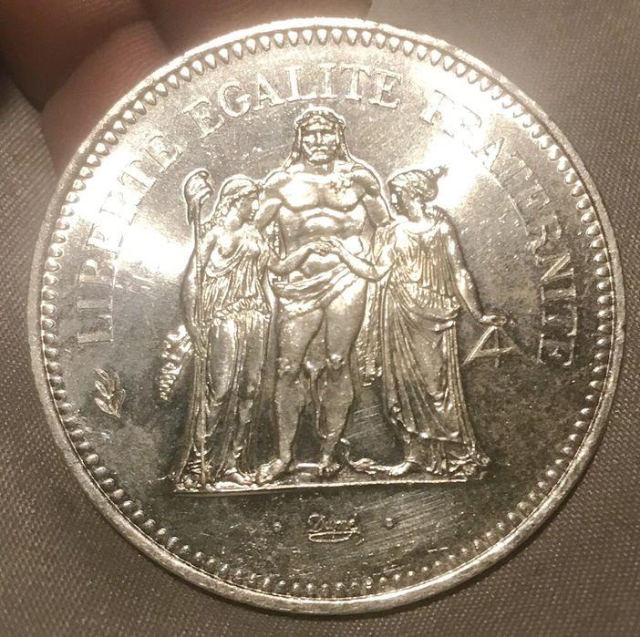 Moeda de 50 francos de 1977 em prata