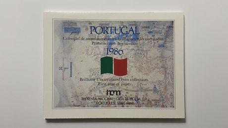 Carteira coleção de moedas de escudo - Série anual de 1986