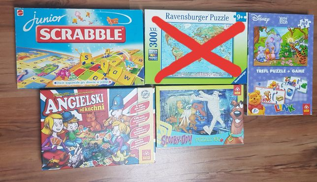 Puzzle Scooby Doo, Kubuś Puchatek, Monster High i Angielski do kuchni