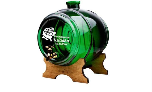 Szklana beczka na alkohol z grawerem NOWA - 2L, OKAZJA