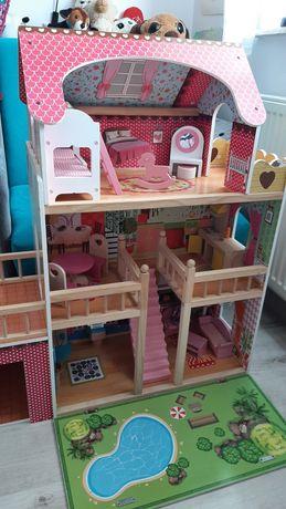 Duży Domek dla lalek + komplet drewnianych mebli+2 lalki - 91cm wysoki