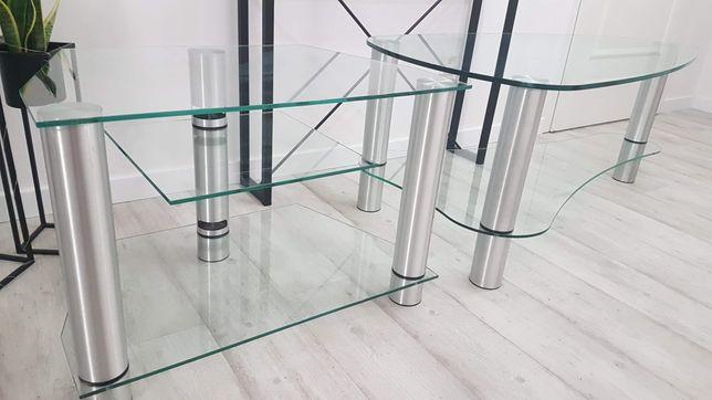 Dwa szklane solidne stoliki z grubego szkła okazja