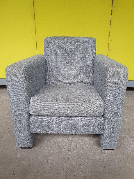 Szary fotel, wysokie boki, nie zniszczony