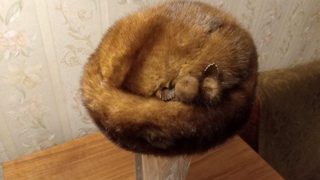 Меховая шапка норка мех теплый берет