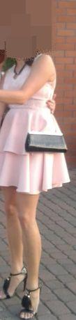 Sukienka pudrowy róż koronka 38 (M)
