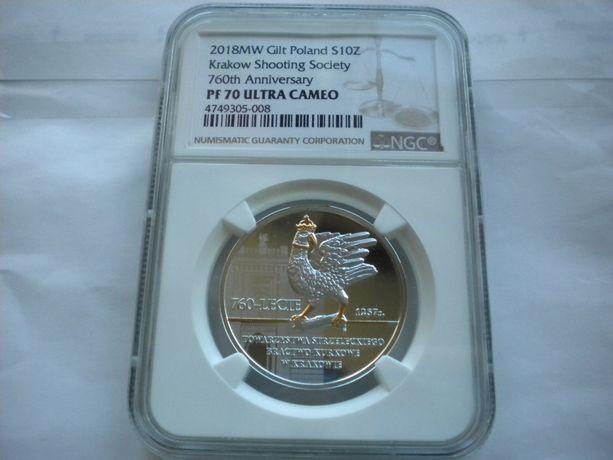 10zł 760lecie bractwo Kurkowe ngc PF70 Rio de Janeiro
