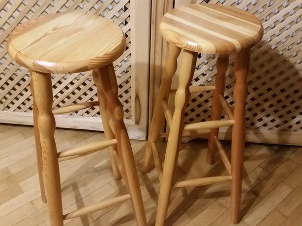 taboret barowy sosna toczony wysoki 80cm 30cm siedzisko drewniany