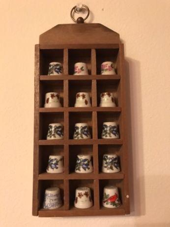 15szt naparstek porcelanowy naparstki z porcelany w drewnianym domku