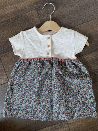 Sukienka ZARA r. 86 w kwiatki, stan idealny