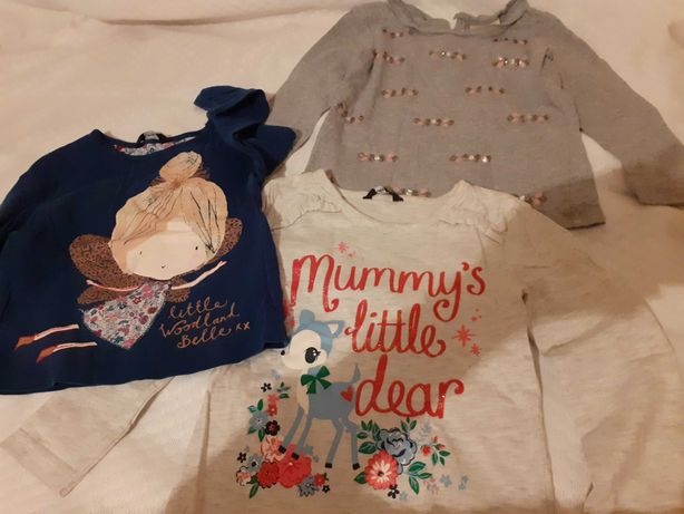 Trzy bluzeczki dla Twojej córeczki rozmiarek GRATIS spodnie
