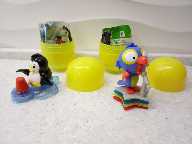 Игрушки из Kinder Maxi пингвин попугай
