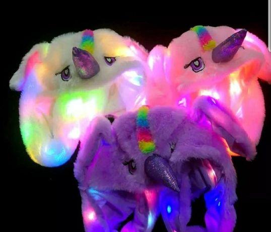 Пикачу,Стич,Заяц белый,Пикачу шапка подвижные ушки,светятся